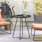 small round metal outdoor side table patio garden outside orange crosley retro pier imports dining grey marble black kitchen set hairpin accent desk lamps setting rose gold short 150x150