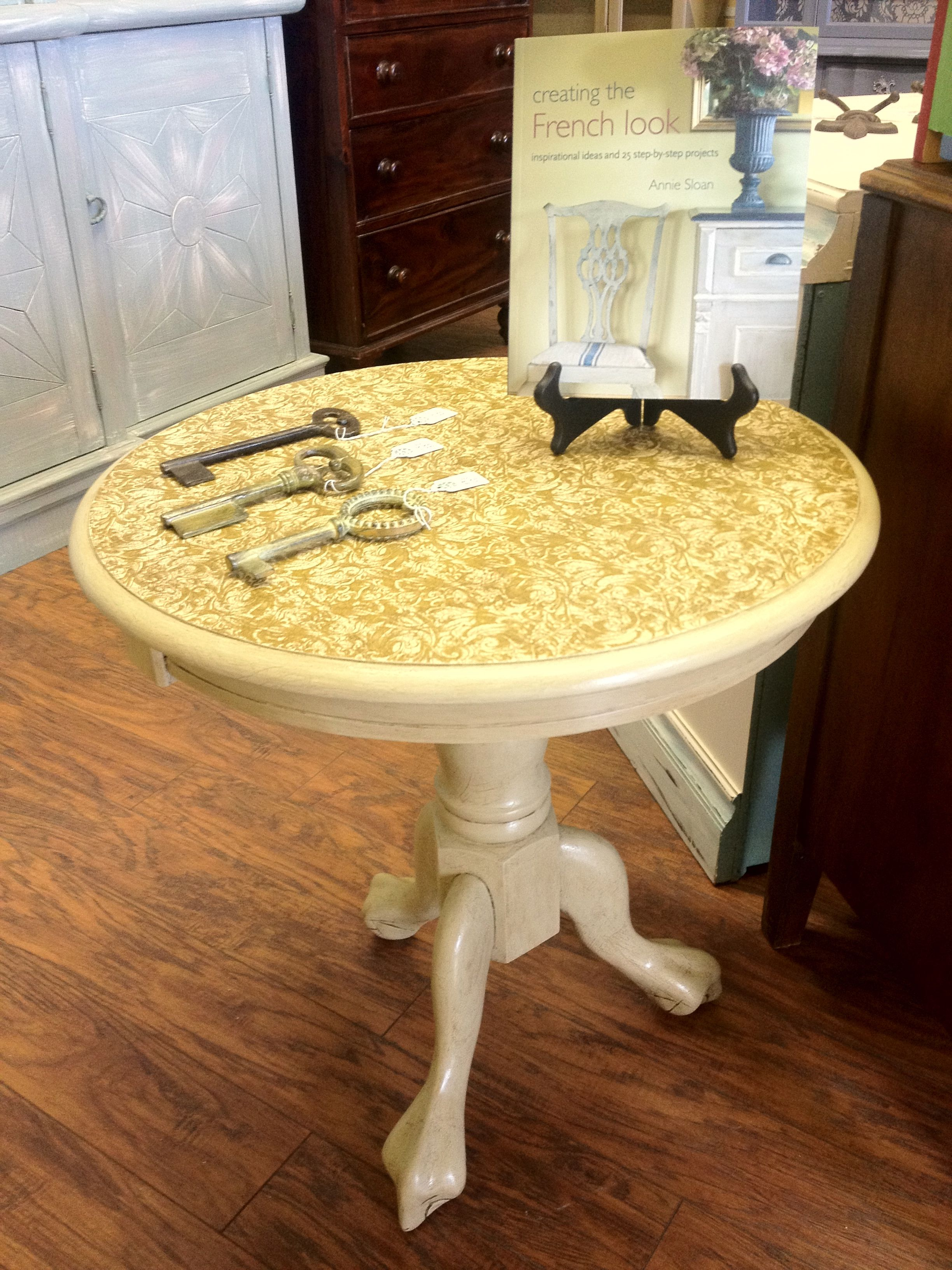 small round oak accent table painted with chalk paint color tables versailles decoupaged printed tissue paper annie sloan craqueleur and hand crackled ikea coffee side inch white