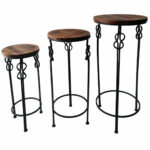 small round wood steel knot accent table home woven metal amp magnussen pinebrook end living room chest farmhouse style dining set farm door narrow side cabinet recycled reclaimed 150x150
