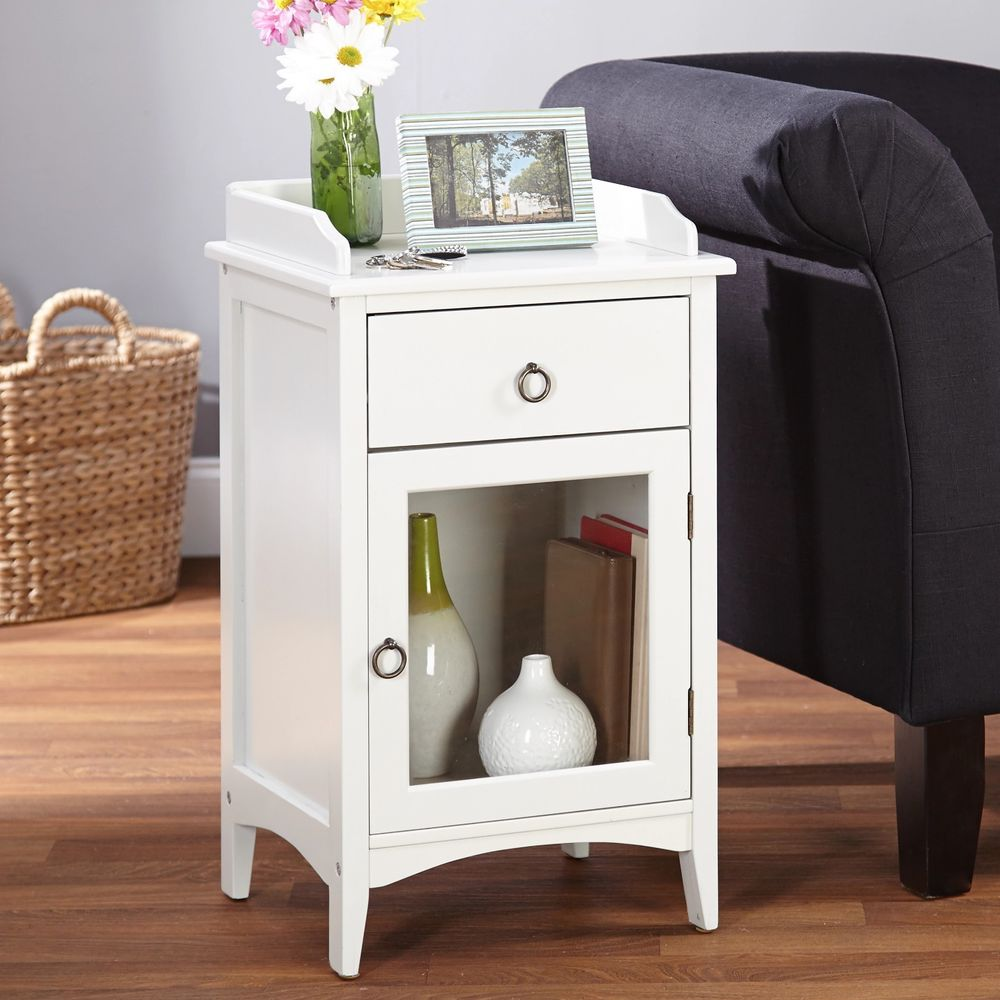 small side table white antique accent end storage cabinet farmhouse with drawers and doors black metal patio coffee short tables living room blue glass lamp corner ikea nautical