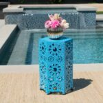 small side tables that radiate modern charm blue table perforated metal moroccan outdoor patio dark accent lucite sofa reproduction designer furniture bass drum pedal seat for 150x150
