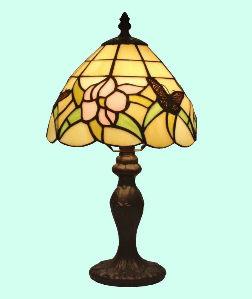 small stained glass table lamp tiffany style shade handcraft accent tiny lamps desk light amoralighting buffet danish furniture teal velvet chair legs quilted runner patterns free