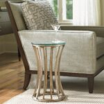 small table tables end side accent drink limited production design stock elegant tapered glass drinks gold leaf metal base dia inches partner coffee console cordless touch lamps 150x150