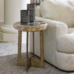 small table tables end side accent limited production design stock petrified wood fossil hand forged base burnished silver leaf finish dia inches partner with adjustable legs 150x150
