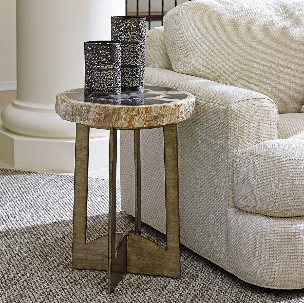 small table tables end side accent limited production design stock petrified wood fossil hand forged base burnished silver leaf finish dia inches partner with adjustable legs