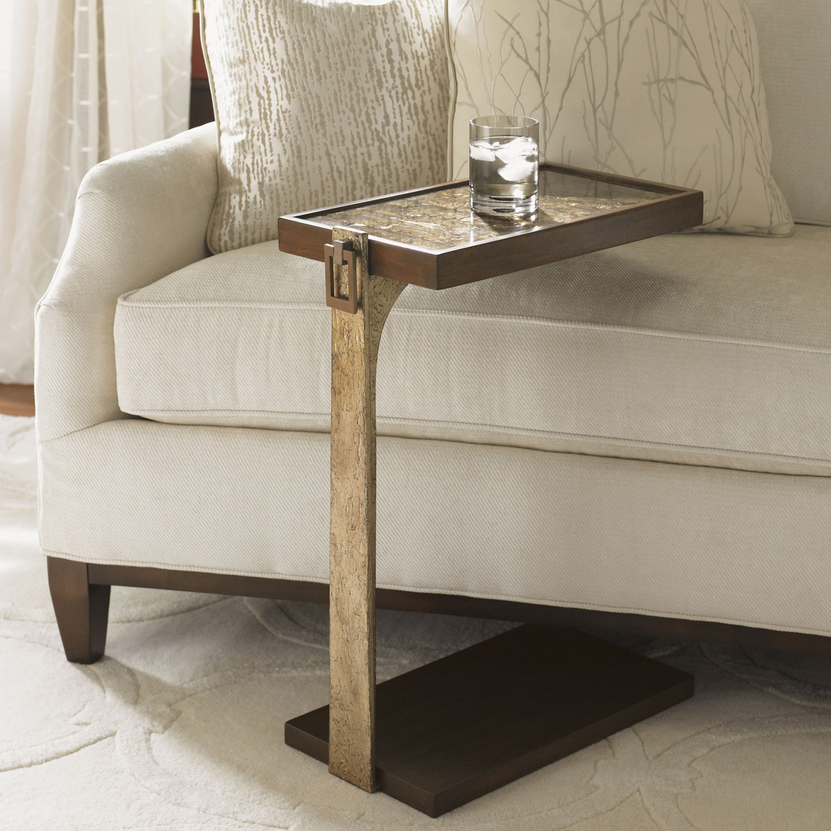 small table tables end side gold accent console limited production design stock elegant capiz shell inlay drinks leaf accents inches part extensive coordinating placemats circular