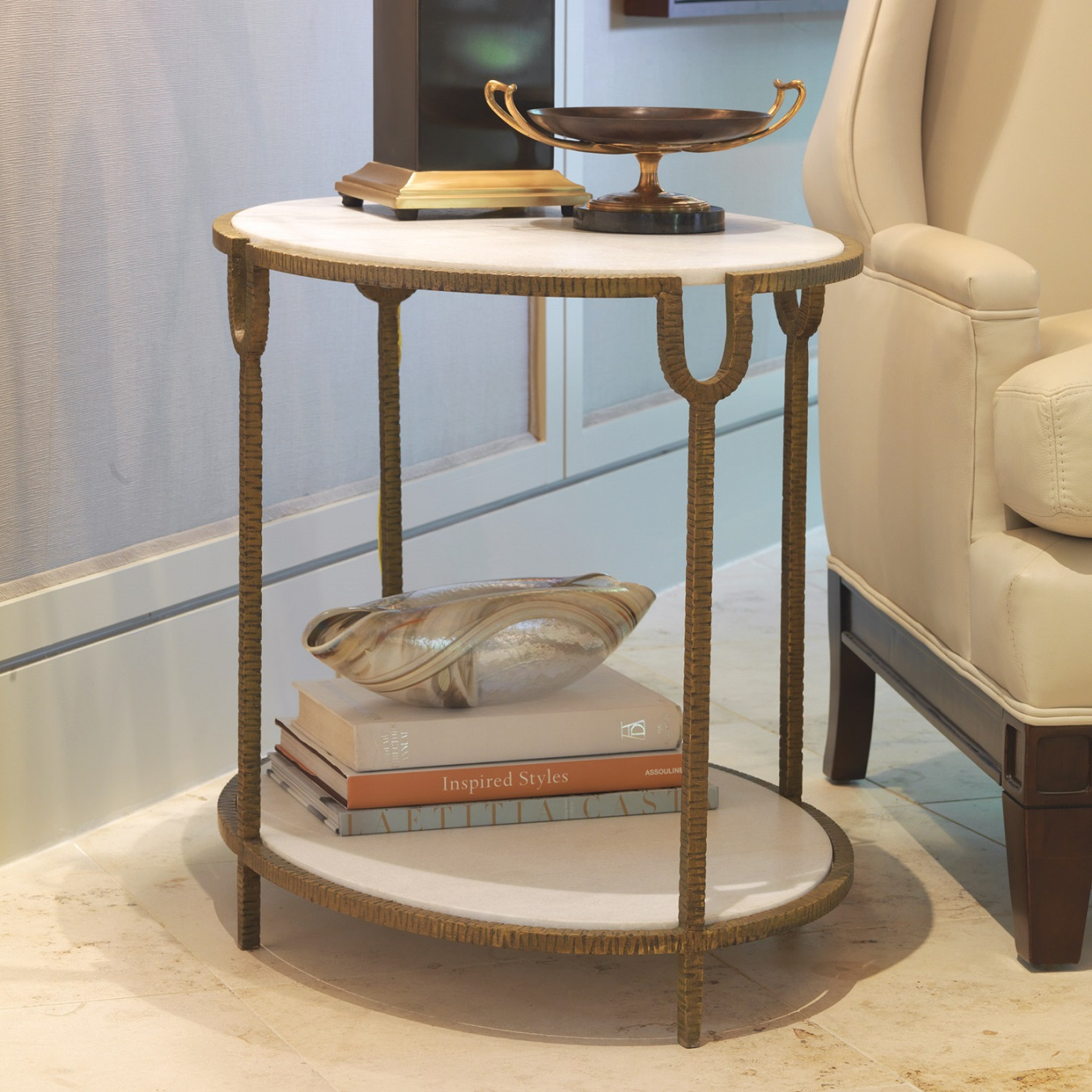 small table tables end side gold hammered accent limited production design stock elegant white stone iron base finish inches partner console coffee with glass tops make your own