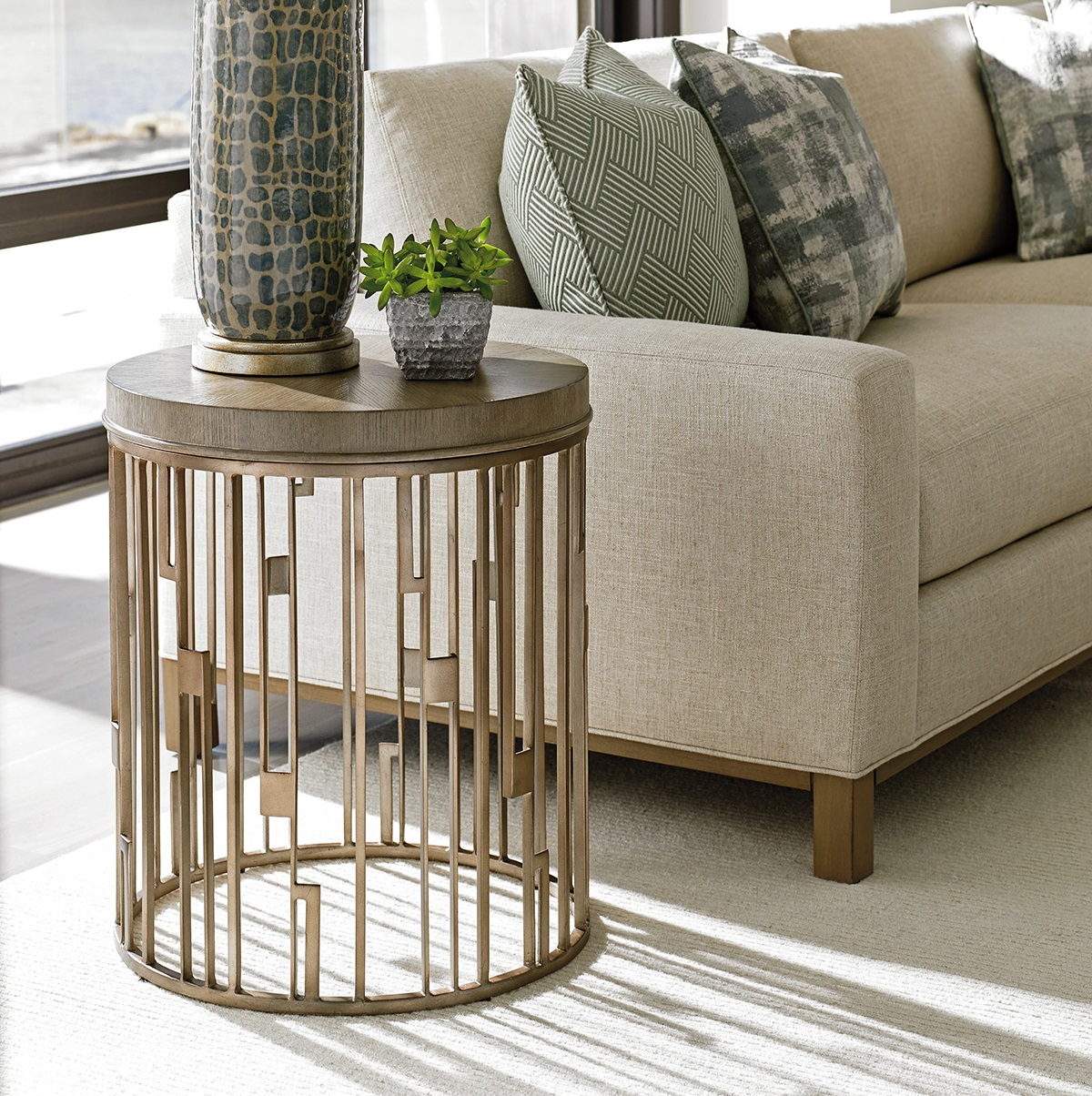 small table tables end side gray accent limited production design stock art metal elm topped drum taupe burnished silver leaf base dia inches partner coffee harvest plans living