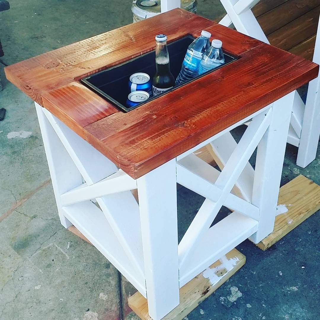 small table with built cooler rustic end outdoor side mejias dopecreations console storage pier tables hall accent low furniture vintage lucite magnussen pinebrook glass drawers