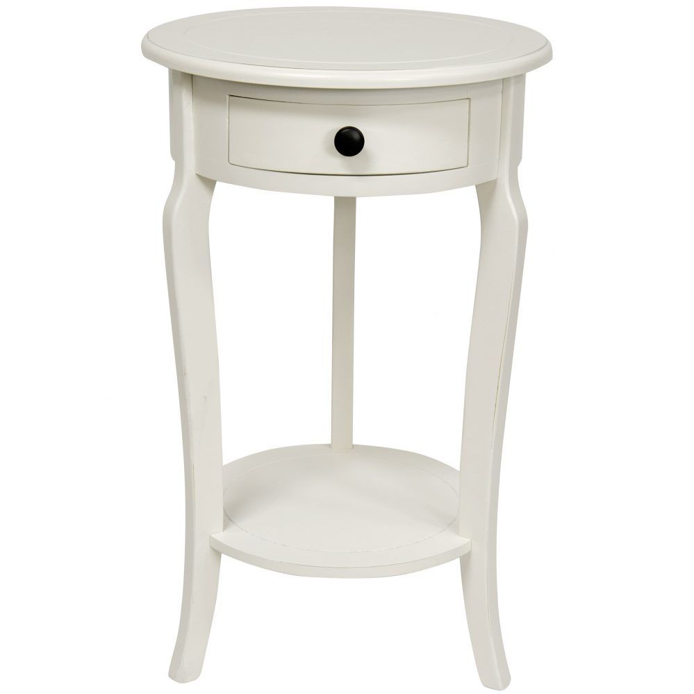 small white round accent table with drawers tables drawer living room sets chairs vacuum counter height rectangular cover outdoor furniture mosaic patio nate berkus whole inch