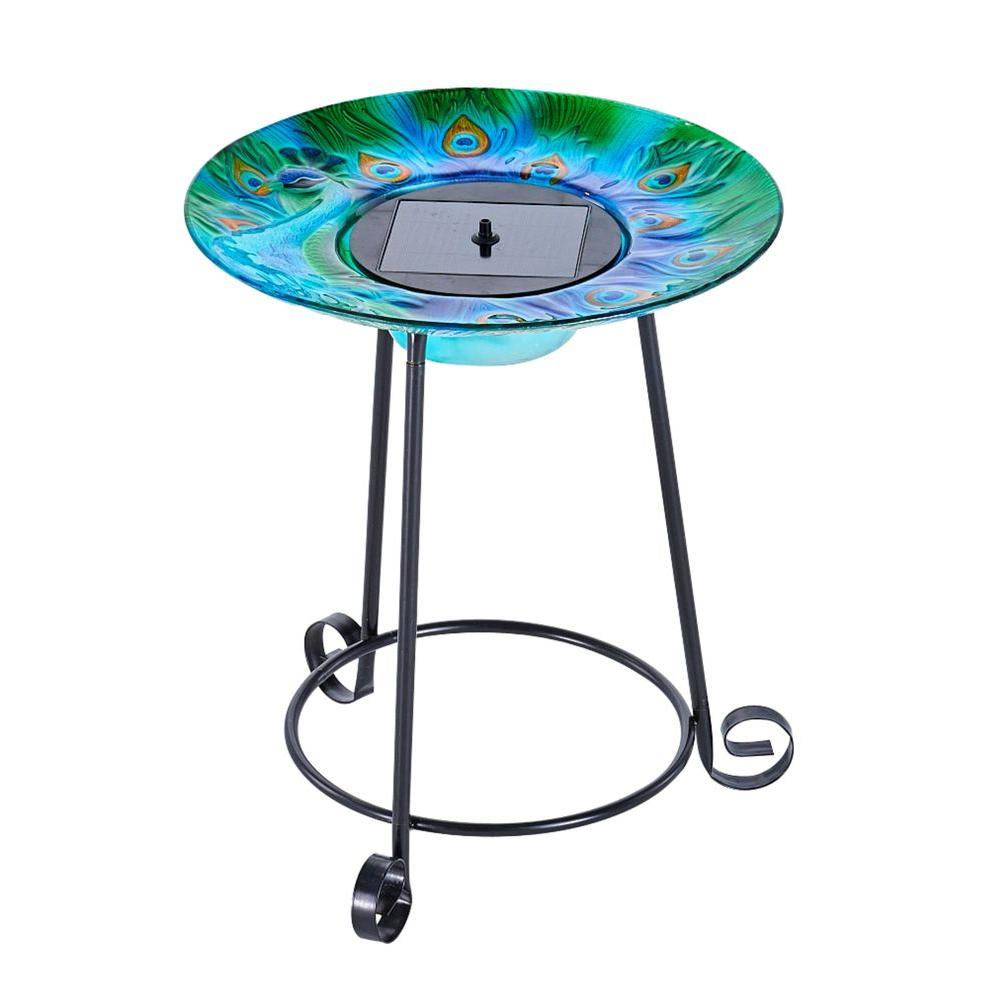 smart solar argus peacock glass birdbath the bird bath fountains metal accent table mid century dining furniture croscill shower curtains worlds away green lamp shades for wall