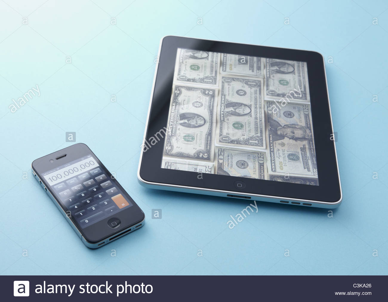 smartphone tablet alamy accent tablette stock piece end table set tall glass cabinet perspex console battery desk lamp off white coffee pottery barn seattle lighting bellevue man