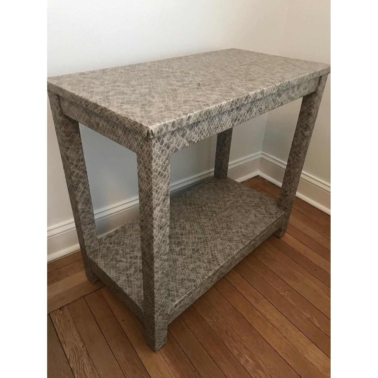 society social draper accent table faux python aptdeco frame wood tall oak side white barn door behind the couch wall wine rack quatrefoil bunnings swing set front entry tables