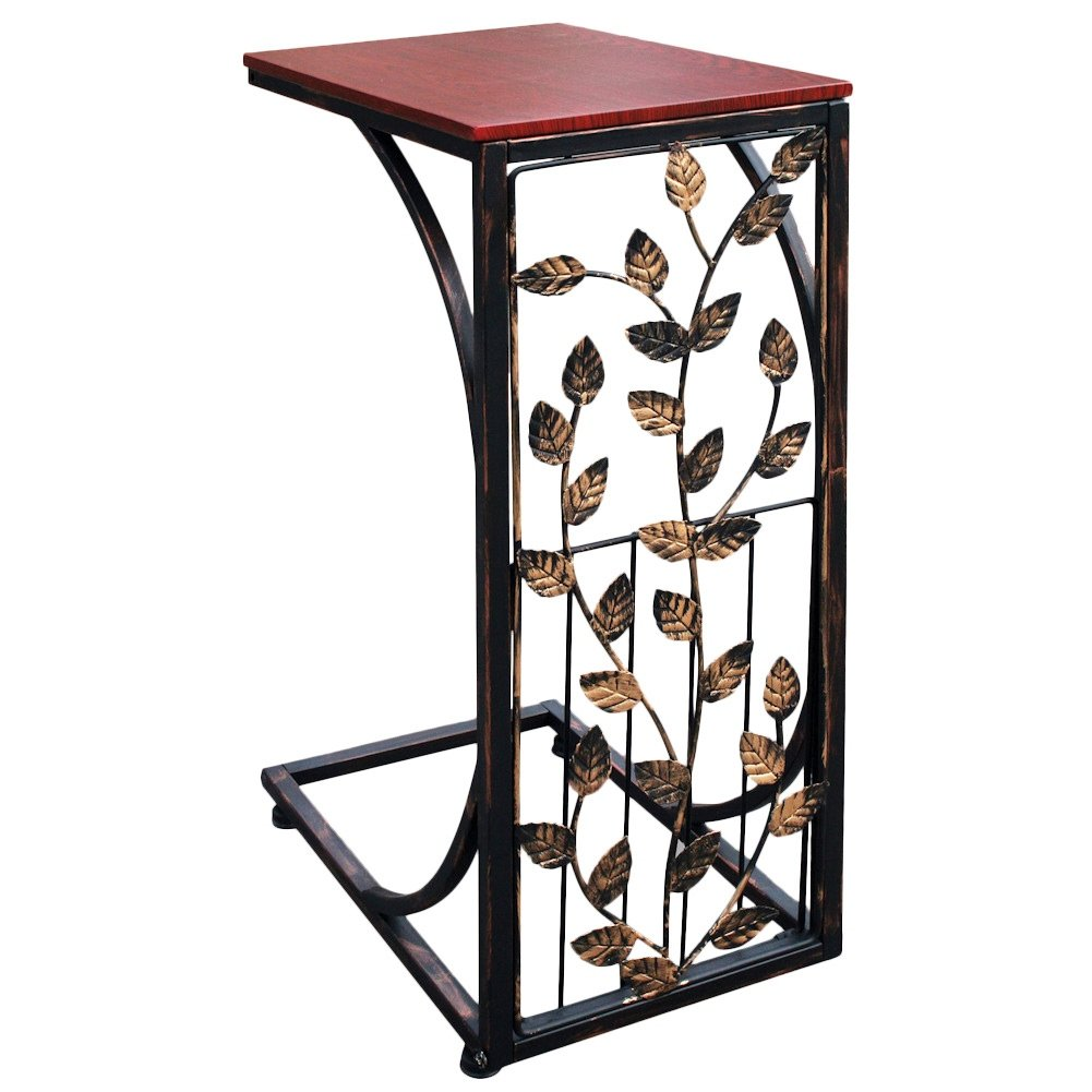 sofa side end table small metal dark brown wood top with leaf design shaped tray slides couch chair recliner shape acrylic accent free shipping resin wicker furniture triangle