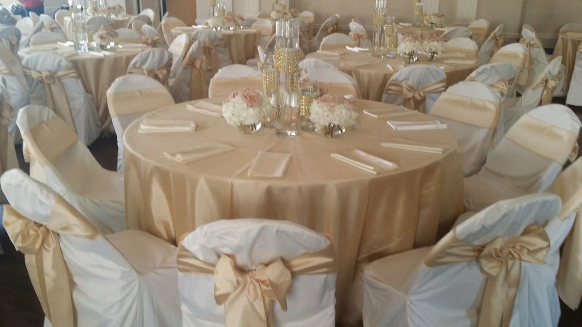 soft gold shantung tablecloths and chair sashes ivory polyester accent table cloth covers platinum sequin white spandex silver bands rhinestone makes for beautiful target ott tray