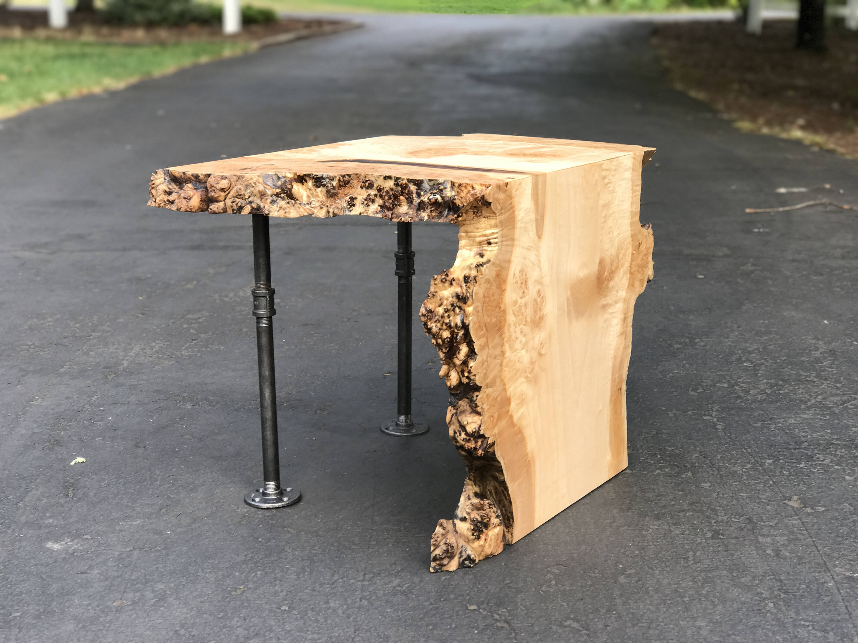 sold live edge maple waterfall end table with pipe legs etsy fullxfull burl wood accent wooden bedside cabinets side light furniture leg extensions plastic outdoor umbrella hole