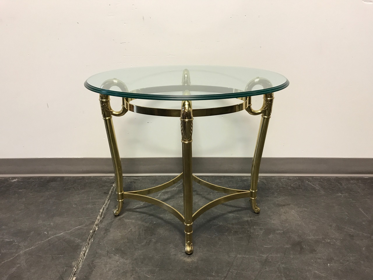 sold out glass brass oval side end accent table boyd boyds fine furnishings drop leaf kitchen and chairs retro style sofa green marble top coffee standard tablecloth sizes console