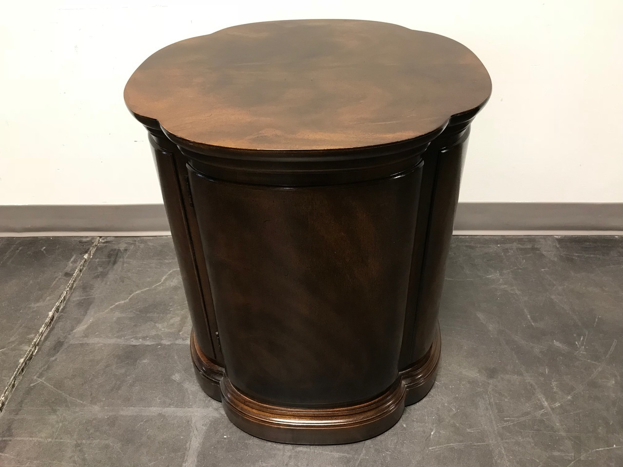 sold out henredon walnut clover shaped end side accent table cabinet boyds fine furnishings victorian tables edmonton large square mirrored coffee outdoor bar cover round marble