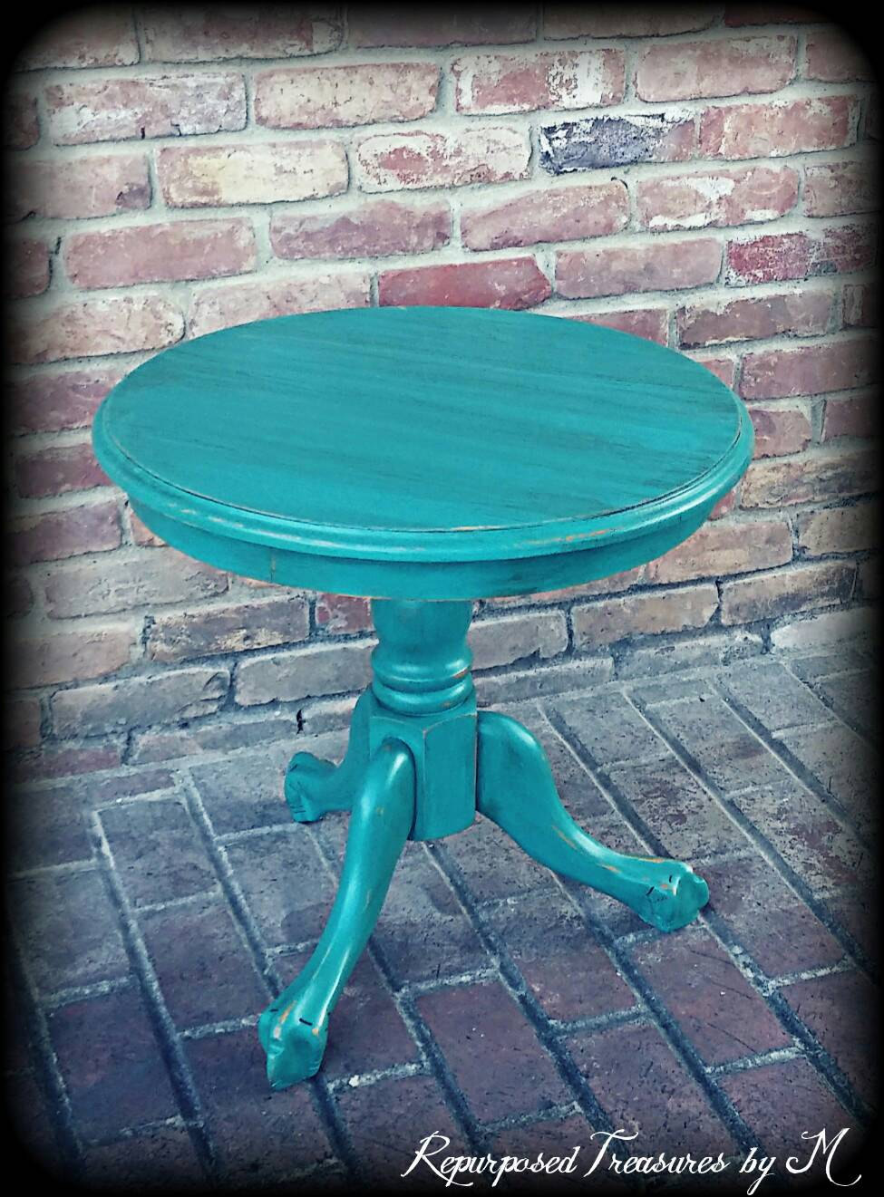 sold vintage accent table turquoise shabby chic etsy fullxfull fvrw teal blue inch bistro hammered metal coffee square lucite bronze glass demilune console tall with stools clear