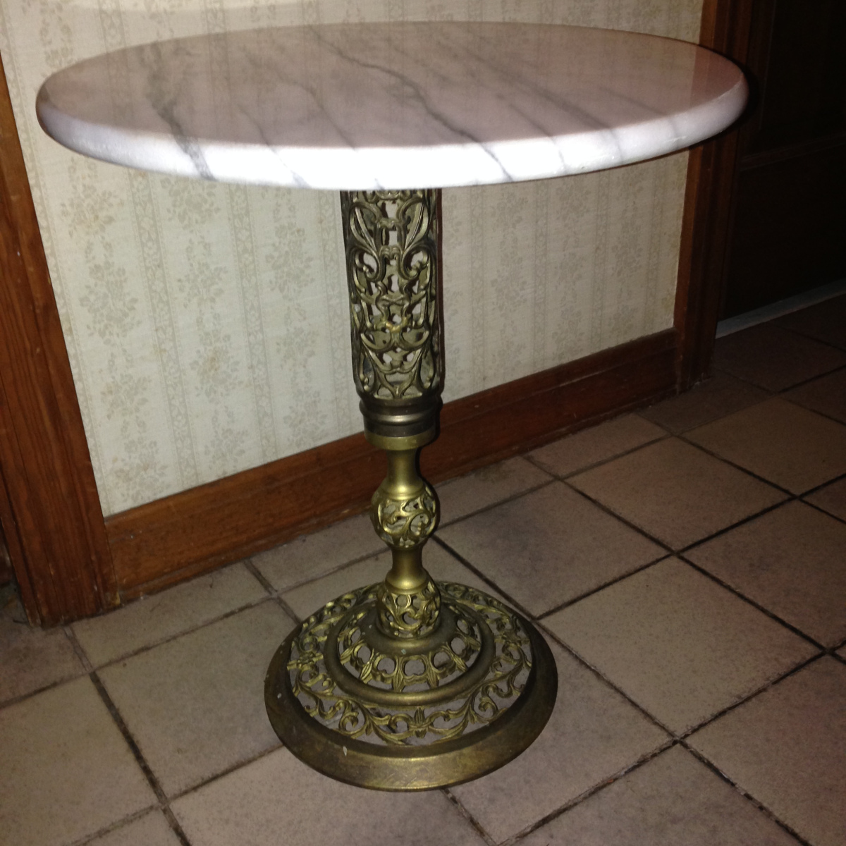 sold vintage round marble top table with ornate brass hallway accent bistro rectangle end drawer industrial look tables extra large clock glass metal pier one ott farm style