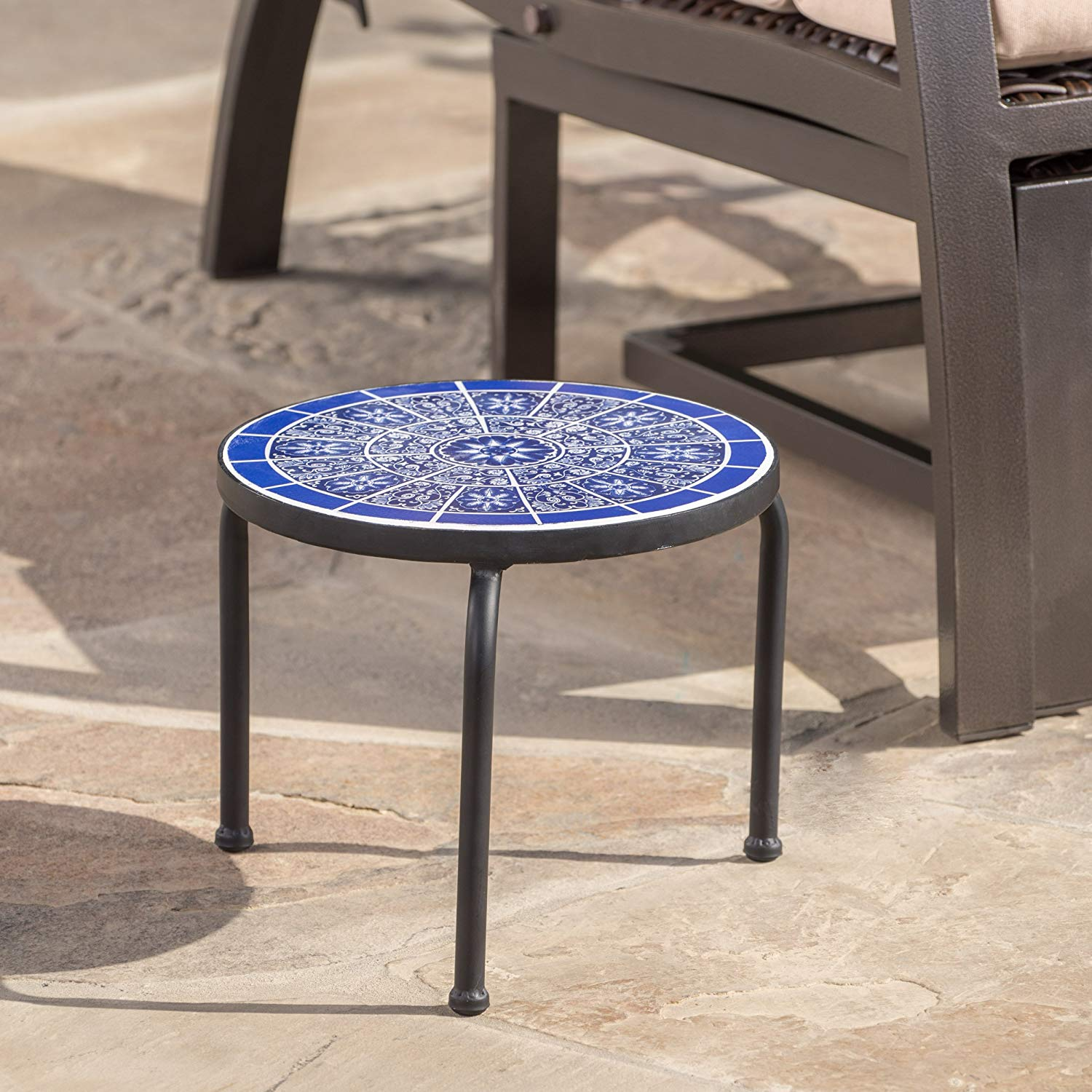 soleil outdoor blue white ceramic iron frame tile accent table side garden hairpin clearance bedding unfinished dining gallerie beds narrow sofa end antique bench burgundy runner