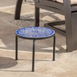 soleil outdoor blue white ceramic iron frame tile side table garden console height homesense coffee circular furniture covers barnwood cabinets small linen tablecloth used end 150x150