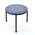 soleil outdoor ceramic tile side table with iron frame blue and white coffee dimensions threshold rustic accent antique round wood nate berkus furniture best drum throne foyer 150x150