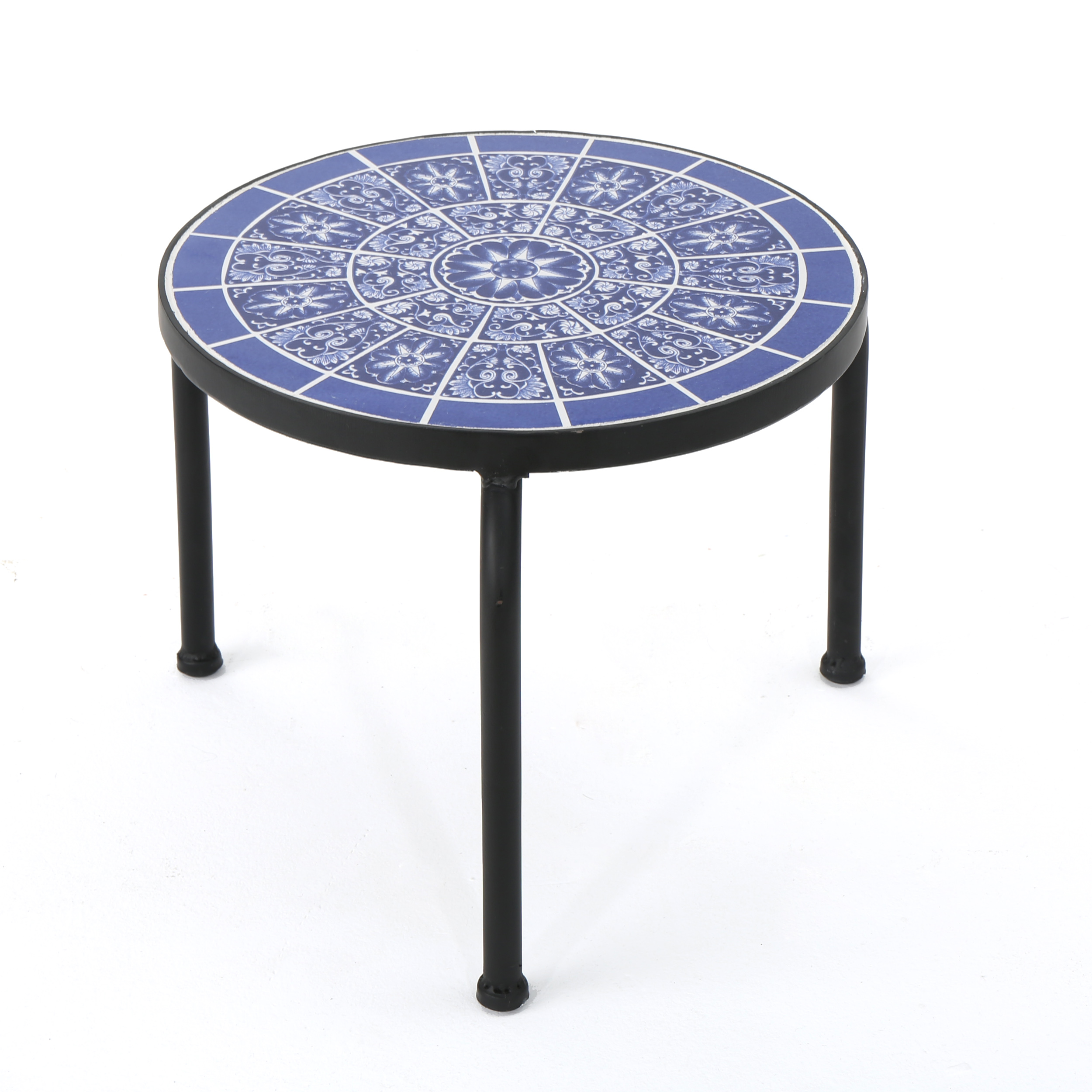 soleil outdoor ceramic tile side table with iron frame blue and white coffee dimensions threshold rustic accent antique round wood nate berkus furniture best drum throne foyer