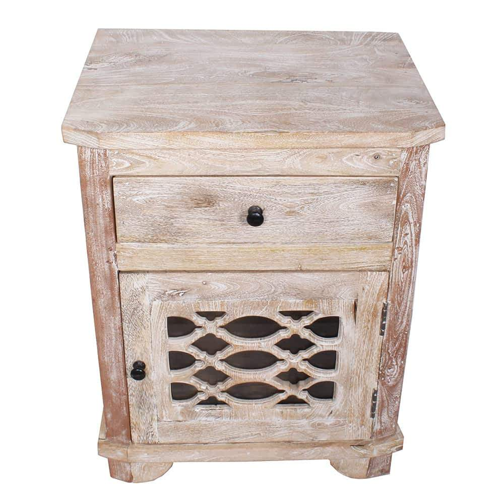 solid mango wood nightstand moroccan end table cabinet accent furniture bazaar with shelf underneath cute lamps for bedroom mimosa outdoor bunnings tall and stools set mirrored
