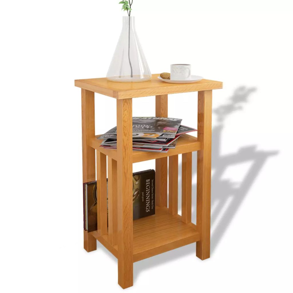solid oak end table side stand accent corner unit display magazine shelf tablecloth cloth chairs two bulb lamp tall silver lamps gold target west elm petite shade floor uttermost