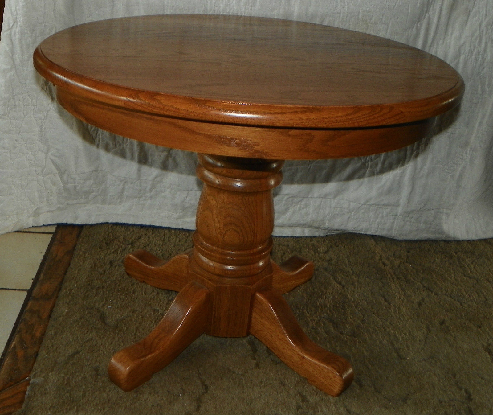 solid oak round end table side and similar items hallway antique accent thin nightstand battery operated bedroom lights square with storage plastic outdoor folding stained glass