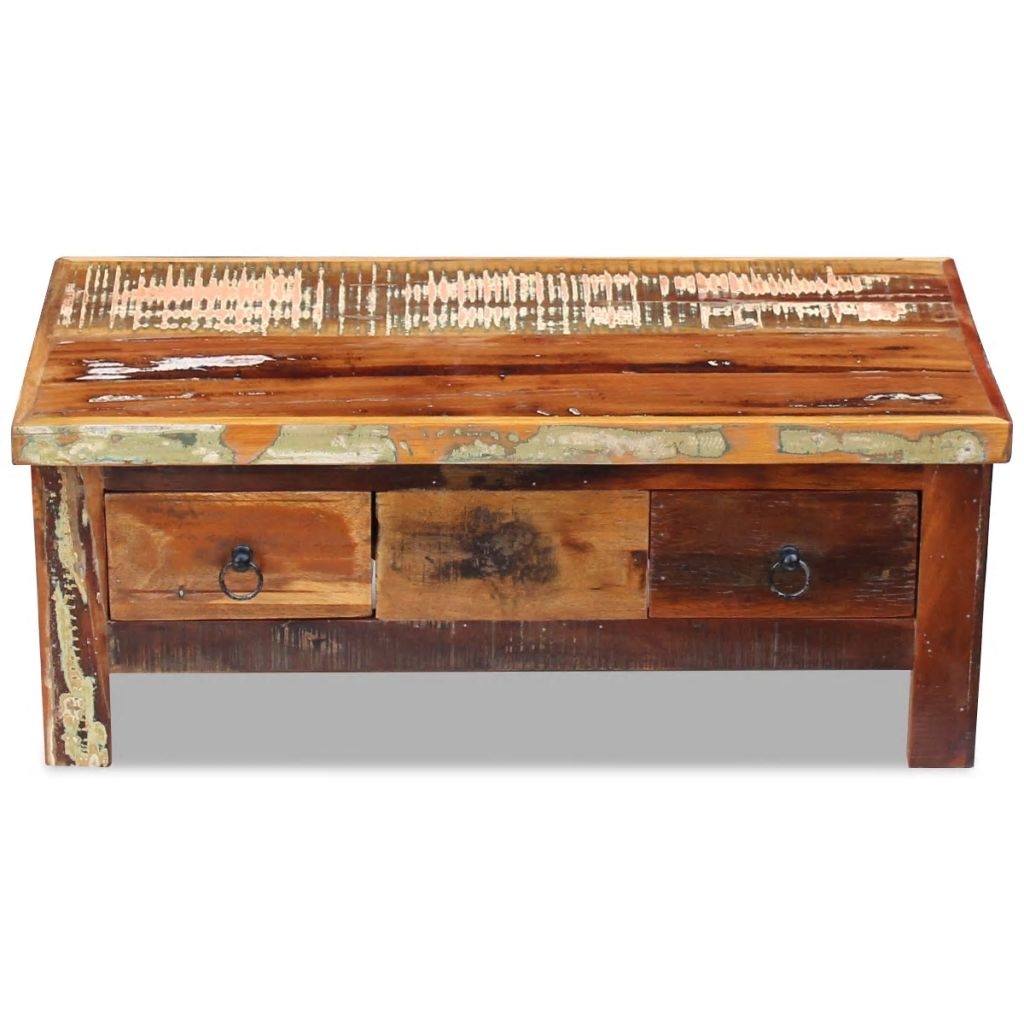 solid reclaimed wood coffee table drawers side couch accent tables this antique style will make unique addition your room its construction makes stable and secure place drinks