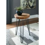 solid wood accent table with hairpin legs signature design products ashley color eversboro leg half moon console round vintage nautical lights antique circular large concrete 150x150