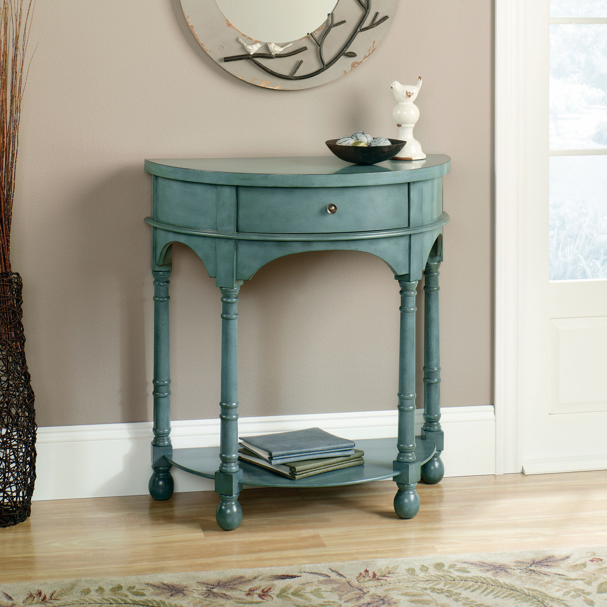 solid wood demilune accent table antique teal mathis brothers sgs wooden acrylic coffee tray tall skinny lamps nite stands extra long narrow console toddler chair target wall file