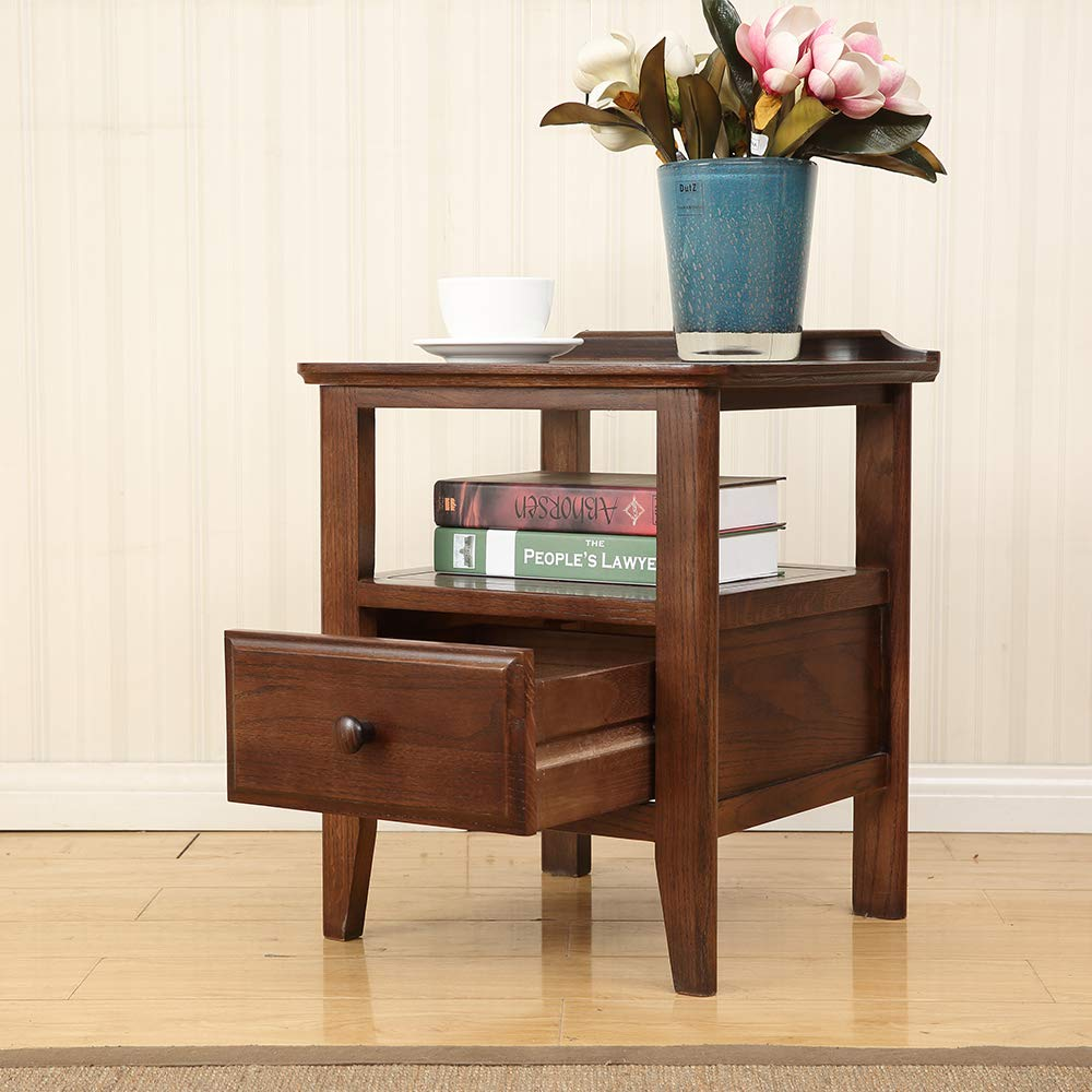 solid wood end table with drawer square corner accent tables tier night stand narrow nightstand storage pull out shelf sofa side for living room essentials outdoor furniture