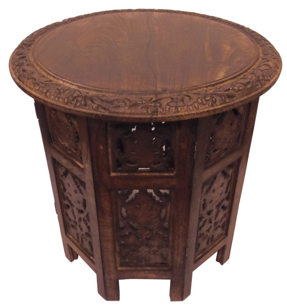 solid wood hand carved folding accent table antique brown round top oak unique new jaipur distressed mirror coffee outdoor umbrella stand weights half moon modern desk lamp steel