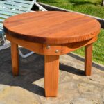 solid wood side table classic redwood round options size mature transparent premium sealant rounded apron outdoor west elm acorn living room lounge chair ikea pot rack nautical 150x150