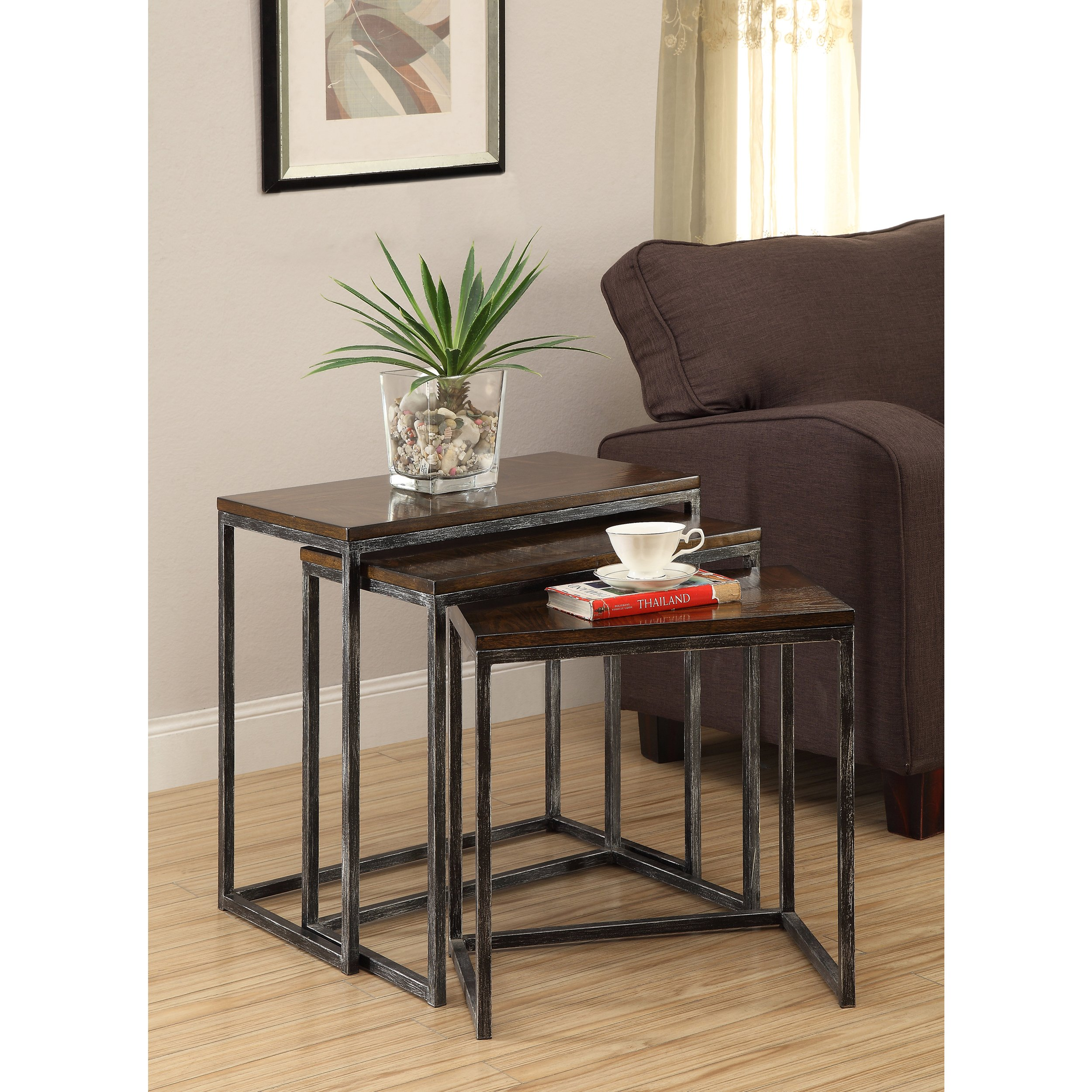 somette brown cherry tier nesting accent tables set tiered metal table free shipping today vintage two chest asian drum plant stand nook plus modern legs clear console aqua end