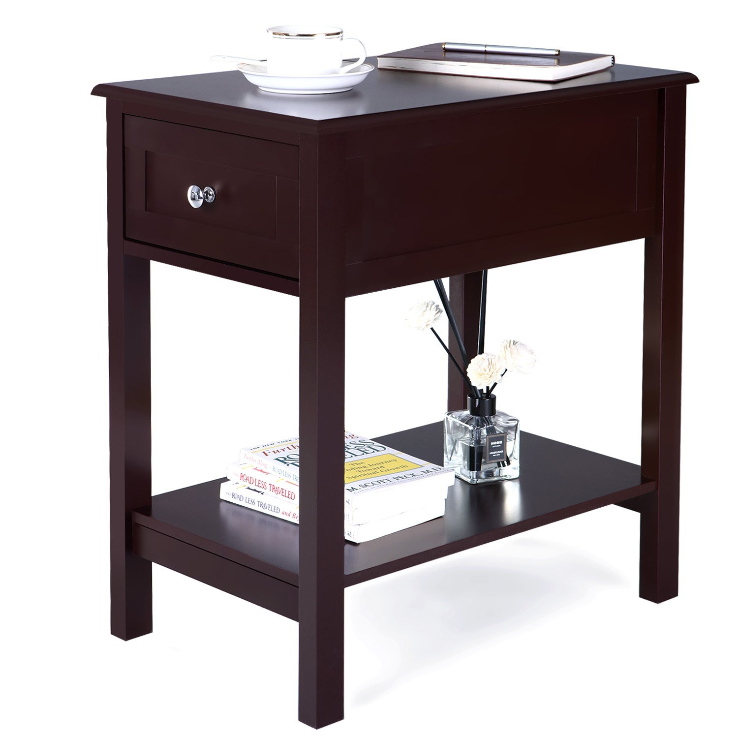 songmics narrow side table end night stand bedside accent with drawer sliding storage for kid room bedroom livingroom brown ott box ikea red patio target wine rack lamps and