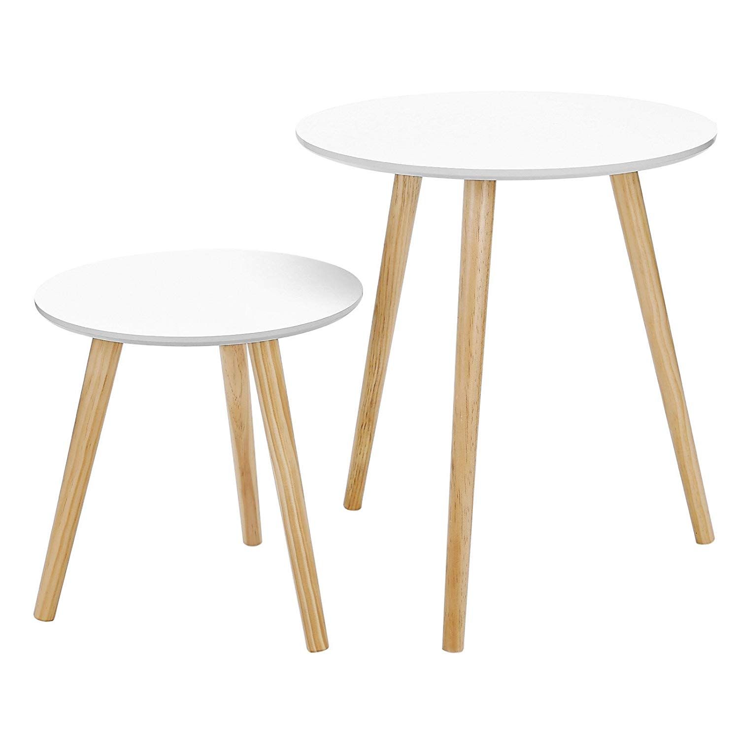 songmics nesting tables round coffee end night accent table with screw legs stand modern mini multi purpose daffodil series furniture for living room bedroom kid pottery sectional
