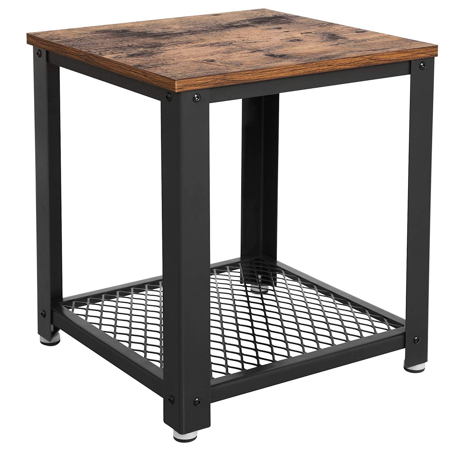 songmics vintage end table tier side with storage shelf for wood accent mirrored bedroom furniture battery operated lamps small metal legs clermont round kitchen powered patio