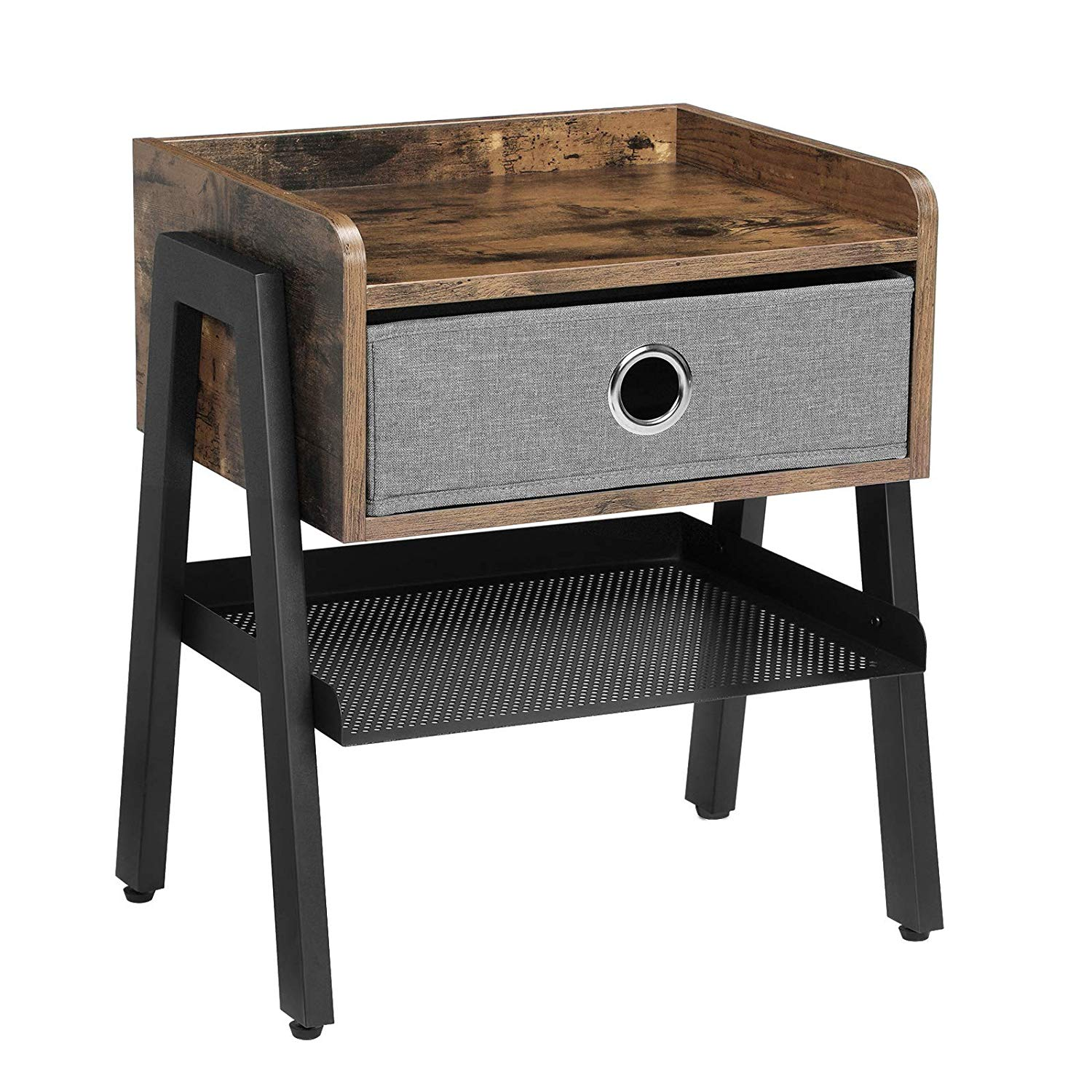 songmics vintage nightstand end table with metal shelf accent tables for small spaces side wood look furniture frame home patio tool cabinet extra long sofa glass dining barnwood