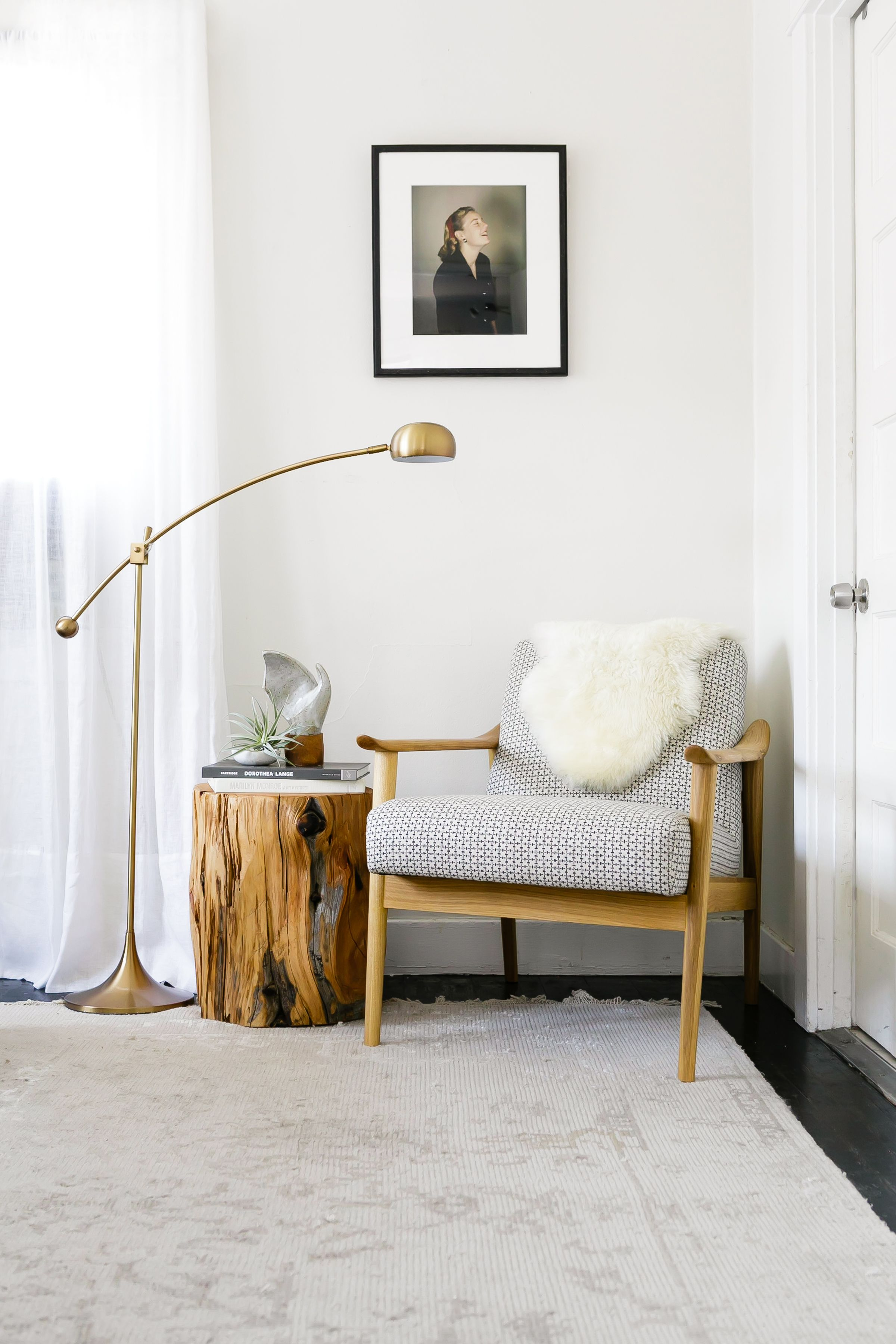 soothing modern bedroom makeover with pottery barn home decor crate and barrel marilyn accent table warm reading nook brass lamp midcentury chair via citysage drop leaf kitchen