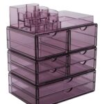 sorbus extra large makeup storage case display with stackable clear acrylic zella accent table detachable drawers purple hautelook narrow wood side wedge small glass lamp home 150x150