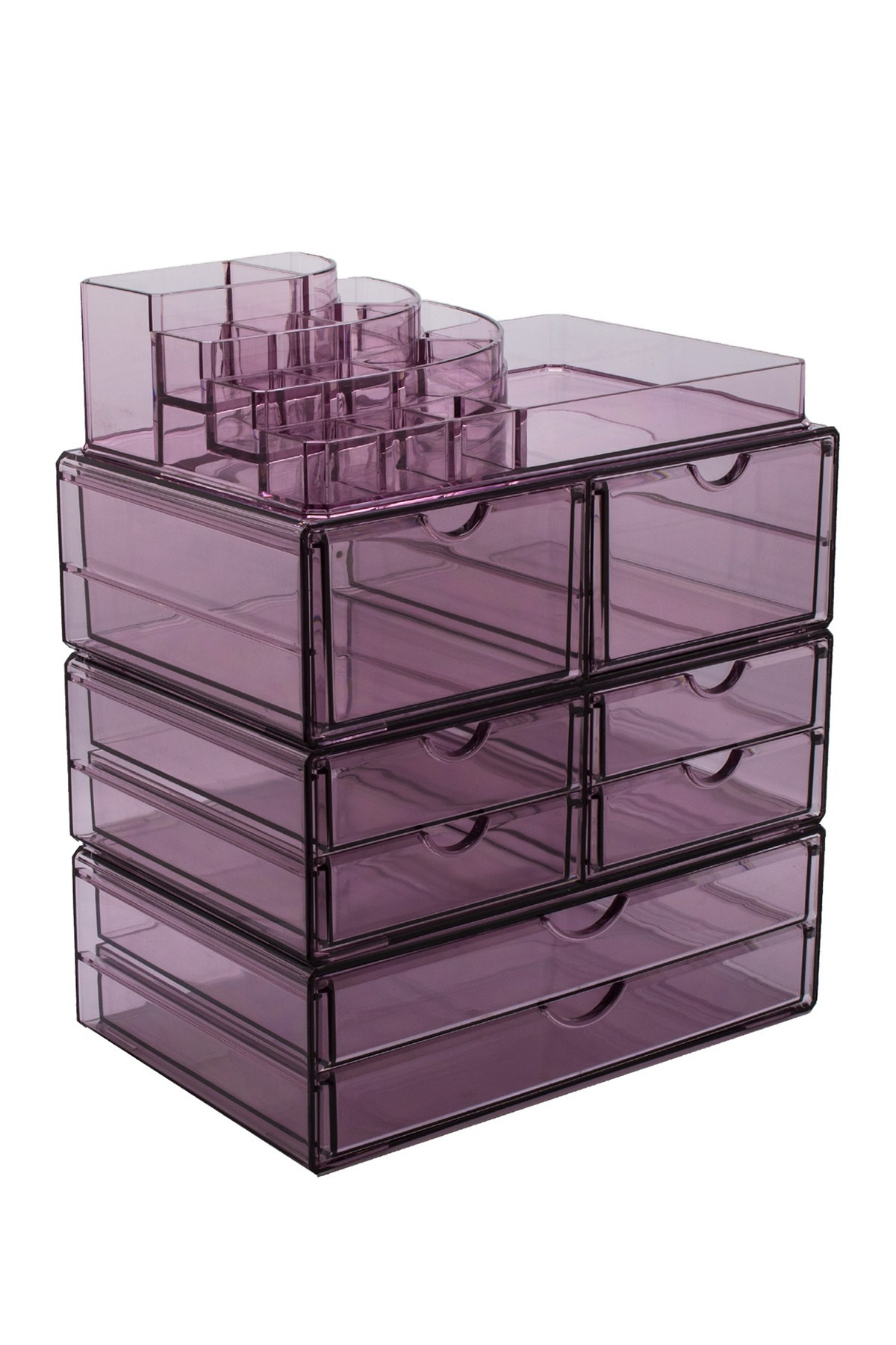 sorbus extra large makeup storage case display with stackable clear acrylic zella accent table detachable drawers purple hautelook narrow wood side wedge small glass lamp home