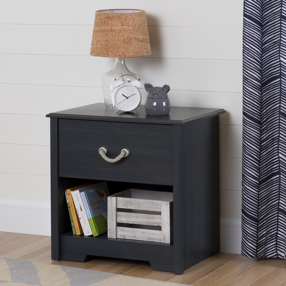 south shore aviron drawer blueberry nightstand the nightstands winsome squamish accent table with espresso finish carpet metal edge strips geometric lamp battery powered floor