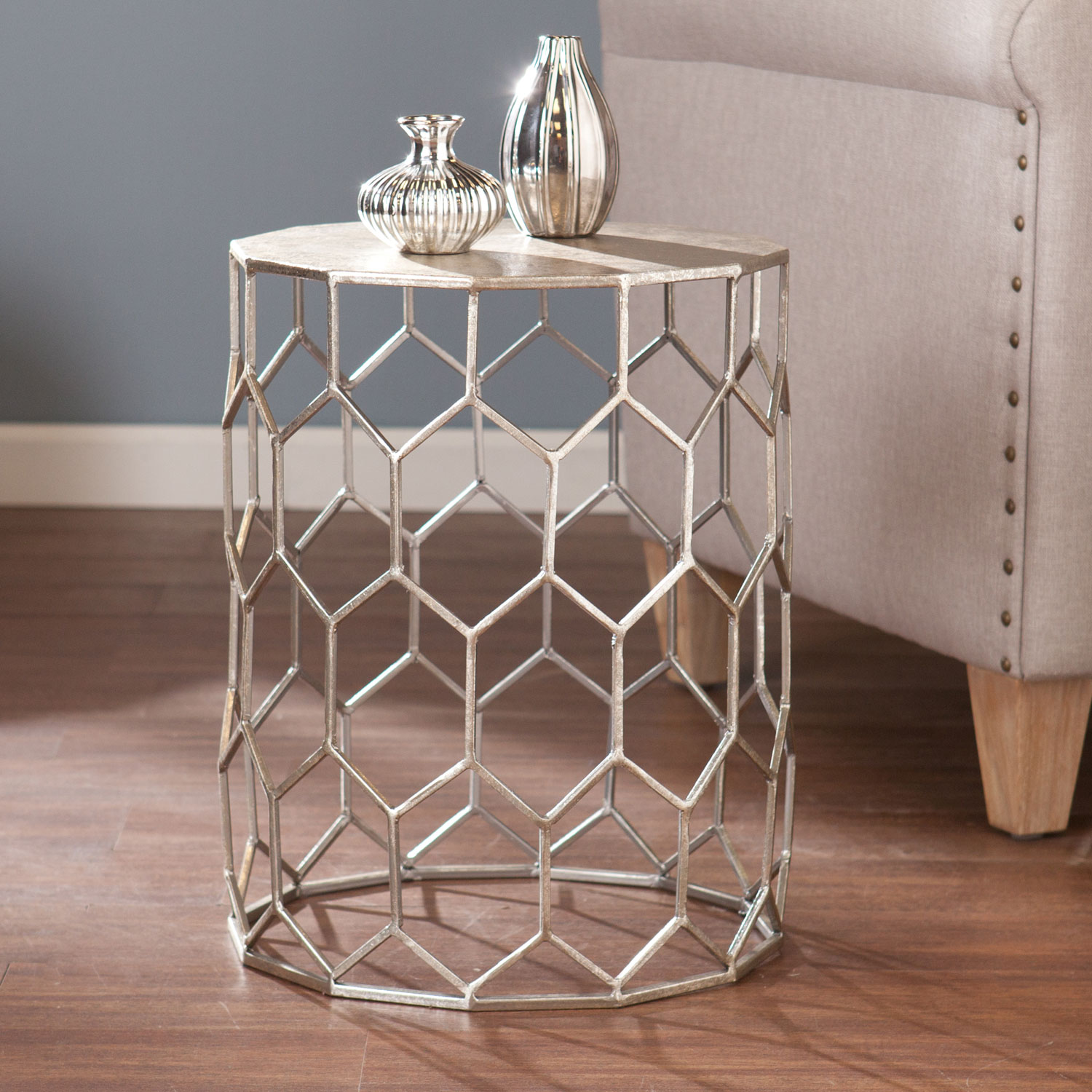 southern enterprises clarissa metal accent table bellacor hover zoom office floor lamps outside storage bench placemat ashley furniture chairside end brass ship lights lounge