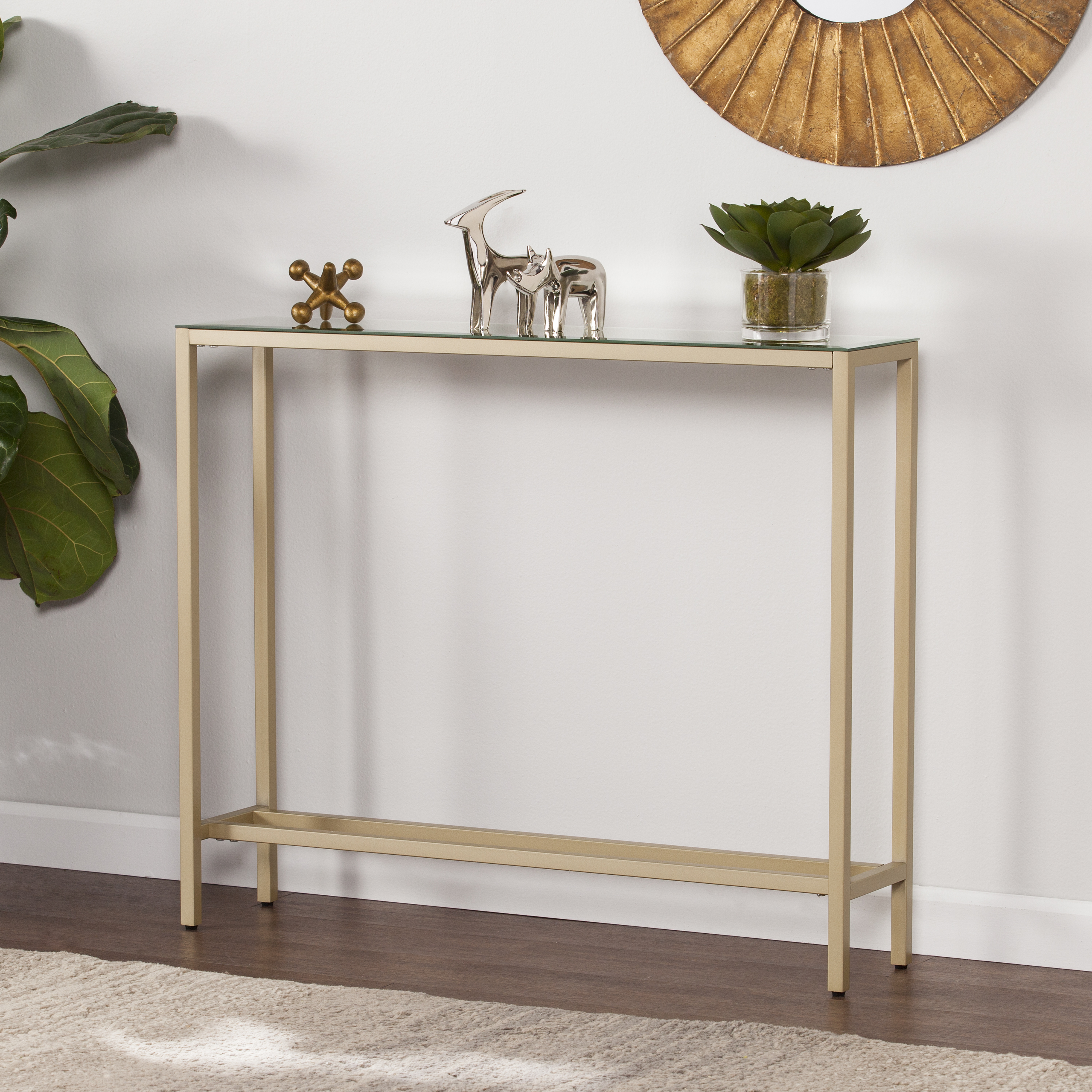 southern enterprises derkkin narrow console table mirrored top gold accent seaside themed lighting small round with screw legs circular patio cover living room furniture coffee