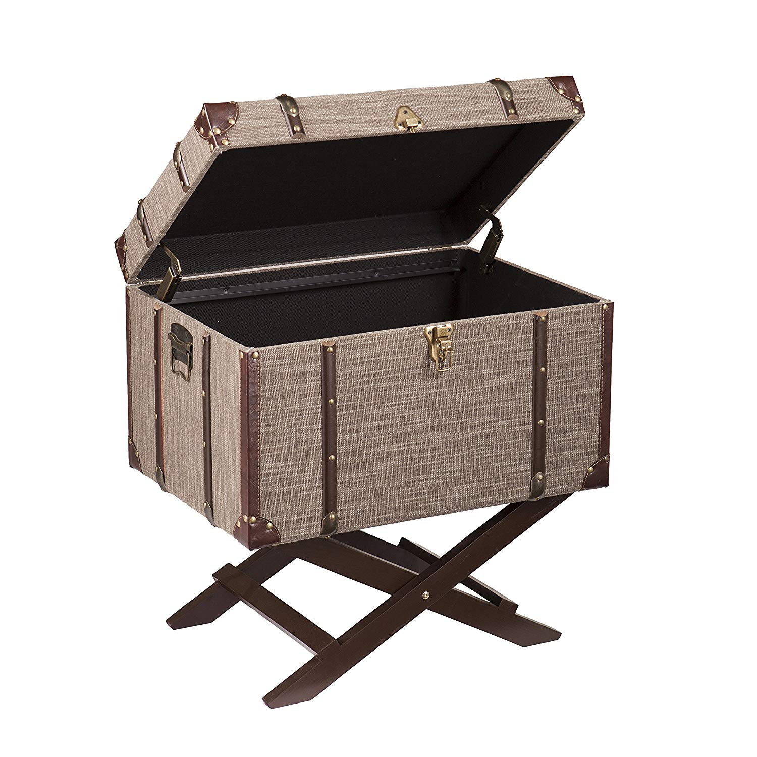 southern enterprises devane accent trunk file storage dml table dark beige linen with chocolate and bronze accents kitchen dining counter height folding door chest distressed