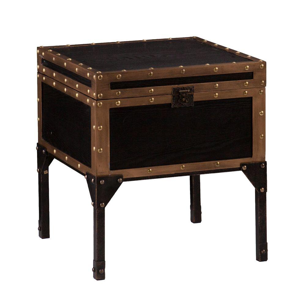 southern enterprises emma antique black trunk end table finish with dark bronze accents tables accent better homes and gardens multiple colors tiffany buffet lamps decoration